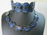 Margot De Taxco Mexican Silver And Enamel Necklace And Bracelet Stunning Art Deco