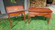 Inlaid Ladies Writing Desk / Secretary And Matching Inlaid Dressing Table