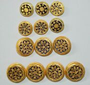 Vintage Menand039s Rajput Wedding Jacket Buttons Pure Silver Gold Plated Meena Work