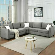 Us 100 X 100 Large Sectional Sofa Couch L Shape Fabric Grey W/3pillows Cushion