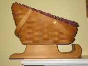 Longaberger Holiday Sleigh Basket With Wood Stand And Plaid Liner 1994 13 Long