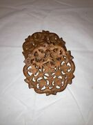Vintage Hand Carved Wooden Indian Footed Trivets Plant Stands Set Of Two 5