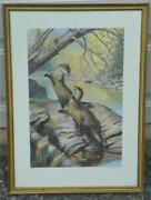 Ned Smith Framed River Otters Print--1983 Working Together For Wildlife Print