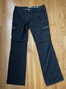 Miss Me Studded Sequin Gray Cotton Cargo Pants Size 30 A10