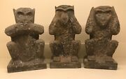 Asian Hand Carved Stone Monkeys- Hear,see,speak No Evil Sculptures, 18th-19th C.