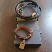 Auth Louis Vuitton Pet Supplies Dog Leash And Collar Set W/box F/s