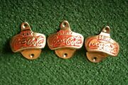 Lot Of 3 Vintage Coca-cola Wall Mount Stationary Bottle Openers