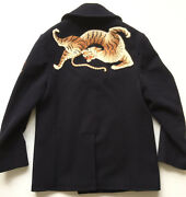 5500 Mens Tiger Silk Embroidered Cruise Pea Coat Wool Navy Size 50, Us 42