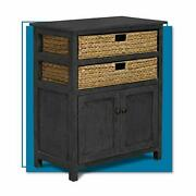 Clickdecor Nelson Storage Chest Cabinet With 2 Wicker Baskets Kitchen Living ...