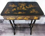 Antique - Chinoiserie Japanned - Lyre Legs - Lacquered Table - 18 X 12 X 26.5