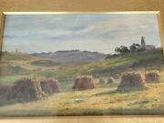Antique 19th Century Oil Painting Haystacks Icklesham By T Perkin 1887
