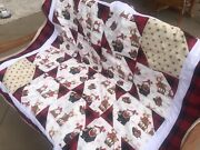 Christmas Patchwork Quilt Gnomes In Winter Woodland New Handmade Buffalo Red