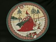Mary Engelbreit Magic Of Christmas Santa And Elves Large Round Platter Plate Dish