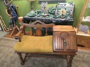 Unique Vtg. Beautiful Wood Gossip Telephone Table Bench Chair, Storage And Cushion