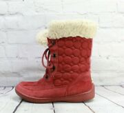 Bearpaw Womenand039s Red Nylon Suede Lace Up Shearling Lined Winter Boots Size 9