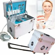 Dental Delivery Unit Rolling Box W/ Led Curing Light+air Compressor+scaler Usa