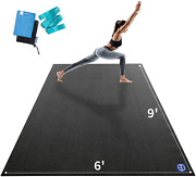 Premium Large Yoga Mat 9'x6'x9mm, Extra Wide And Thick Exercise Mats For Home X