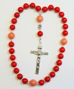 Anglican Episcopal Rosary Coral Beads And Sterling Silver Cross