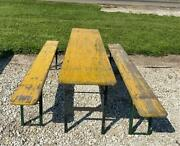 Wood Vintage German Beer Garden Table And Benches Oktoberfest Picnic Table C64