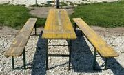 Wood Vintage German Beer Garden Table And Benches Oktoberfest Picnic Table C70