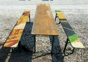Wood Vintage German Beer Garden Table And Benches Oktoberfest Picnic Table C72
