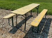 Wood Vintage German Beer Garden Table And Benches Oktoberfest Picnic Table C79