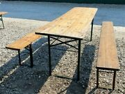 Wood Vintage German Beer Garden Table And Benches Oktoberfest Picnic Table D10