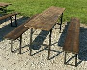 Wood Vintage German Beer Garden Table And Benches Oktoberfest Picnic Table D8
