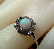 Real Antique Opal Old European Diamond Solitaire Vintage Deco Engagement Ring
