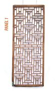 Pair Antique Chinese Wood Carved Geometric Lattice Window Screen Shutter Panel