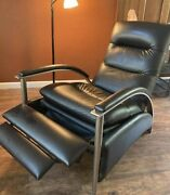 Ethan Allen Mcm Style Contemporary Linear Recliner Chair, Black Leather