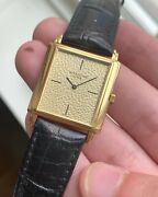 Vintage Patek Philippe 18k Gold Tank Manual Wind Champagne Textured Dial Watch