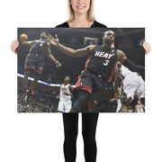 Dwyane Wade And Lebron James Dunk Paper Posters Or Canvas Print Framed Wall Art
