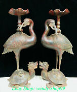24 Old China Red Bronze Dragon Turtle Crane Candle Holder Candlestick Pair