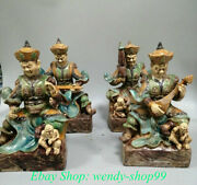 10 Old Chinese Wucai Porcelain Pottery 4 Great Heavenly Kings God Statue Set