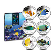 2021 Sea Creatures Series Colorized 50 Pence 6 Coin Set And Collectors Album