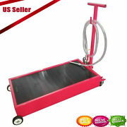 8ft 20 Gallon Oil Drain Pan Low Profile Dolly W / Pump Hose And Wheels Car Truck