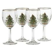 Spode Christmas Tree 13 Ounces Wine Glasses With Gold Rims Set Of 4