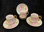 1987 Lefton Heritage Green Rose Tea/coffee Set Of 3 Cups And Saucers 5857 Nice