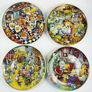 Franklin Mint Cat Collector Plates Pizza, Halloween, Thanksgiving, Christmas 4