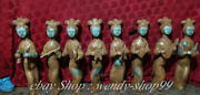 China Hetian Jade Gilt Carving Dynasty 9 Belle Beauty Girl Play Music Statue Set