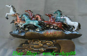 21 Old Chinese Pure Bronze Painting Success 8 Horse Run Horses Animal Statue