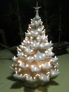 Vintage 2and039 Atlantic Mold Ceramic Christmas Tree W/ Star Topper And 165 Peg Lights
