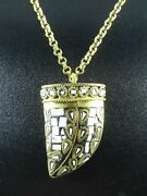 Unique Gold Chain Necklace Ivory/white Mosaic Inlay Claw Talon Tusk Pendant