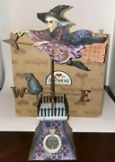 Jim Shore Comes The Storm Skeleton Flying Witch Cat Halloween Mint With Box