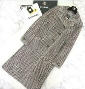 01a Vintage With Sequins Tweed Long Coat Size M