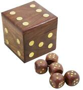 Dice Set Casino 5 Complete Vintage 20 Mm Brown With Wooden Storage Box Handmade