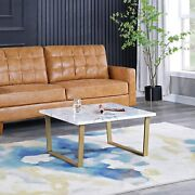 Firstime And Co. Gold Adrian Marbleized Coffee Table Metal 31.5 X 15.75 Inches