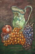 Vintage Still Life Watercolor Painting Pitcher Grape Apple Signed