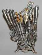 Antique Art Deco Silverplated Woman Statuette Knives Holder With 12 Knives
